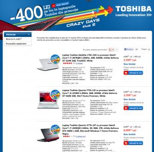 Pagina promoției -400RON pentru laptopuri Toshiba