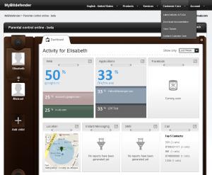 Interfața web pentru administrarea Bitdefender Parental Control