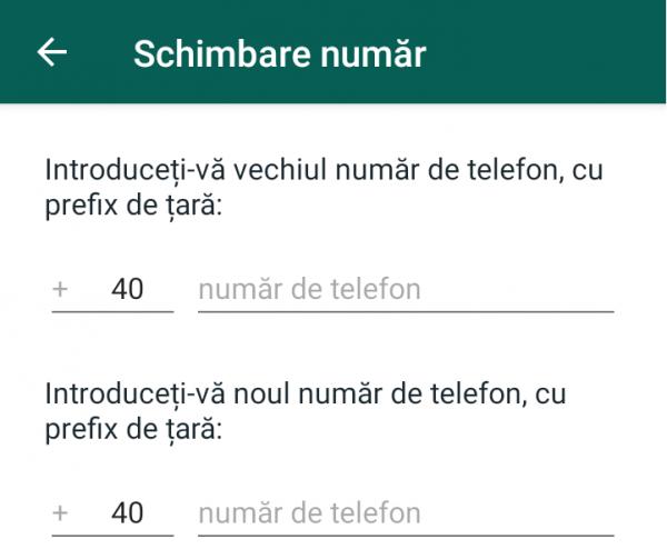Schimbă numărul de telefon din Whatsapp
